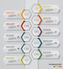 10 steps Timeline arrow infographic element. 10 steps infographic, vector banner can be used for workflow layout, diagram,presentation, education or any number option. EPS10.