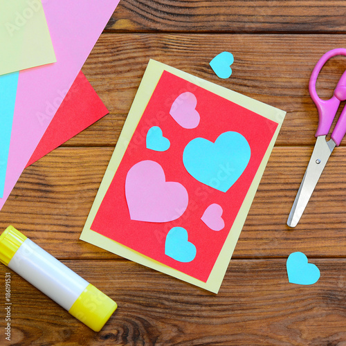 Valentines day or mothers day greeting card with pink and blue valentines day or mothers day greeting card with pink and blue hearts scissors glue m4hsunfo