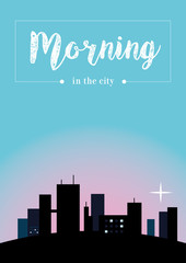 Morning in the city. Vector Creative illustration