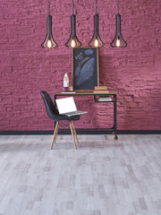 modern office style claret red and lamp decor