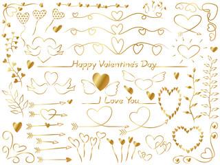 バレンタインデー 素材セット(金色)