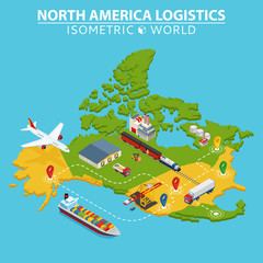 North America transportation and logistics. Delivery and shipping infographic elements.