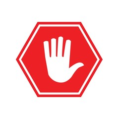red road stop sign hand on board vector icon
