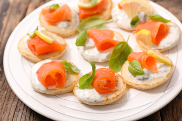 canape with cream and salmon