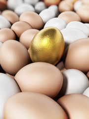 Golden egg standing out among brown and white eggs. 3D illustration