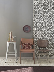 decorative grey wall and chair decoration