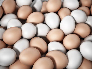 Brown and white fresh farm eggs. 3D illustration