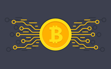 Bitcoin digital currency. Digital money concept