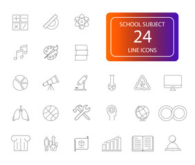 Line icons set. School subject pack. Vector illustration.