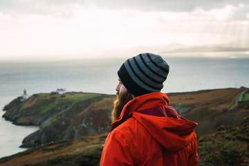 Man posing in mountains