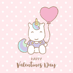 Cute Unicorn holding balloon with text happy Valentines day, Vector Illustration