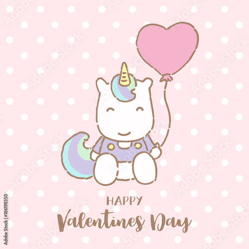 Cute Unicorn Holding Balloon With Text Happy Valentines Day Vector