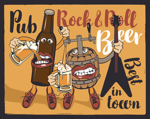 Vector banner for Rock and roll pub with inscriptions pub, rock-n-roll, beer, best in town. Illustration in a flat style with a fun beer bottle and a barrel that hold the guitar and glasses of beer