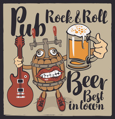 Vector banner with inscriptions Rock-n-roll pub, best beer in town. Illustration in a flat style with a fun beer monster in the form of a barrel that holds a guitar and a full glass of beer