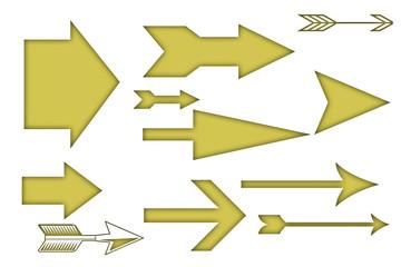 Flechas rectas de color amarillo.