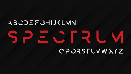 Spectrum regular futuristic decorative sans serif typeface design.