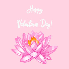 Happy Valentine's Day. Lovely lotus and heart. Vector background with lily.