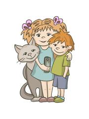 Kids and cat taking selfie. Vector cartoon illustration
