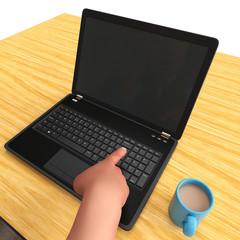 bald businessman holding a laptop