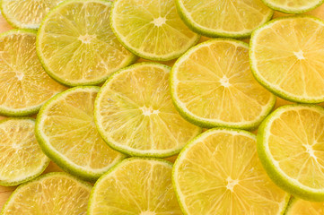 background from slices of lime top view