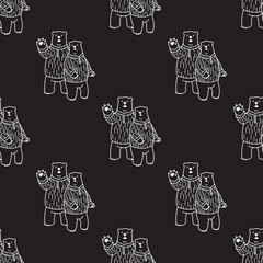 Bear polar bear hello Seamless Pattern vector isolated wallpaper background black