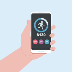 Fitness tracking app on mobile phone screen vector illustration
