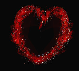 Valentines Day,red heart on a black background