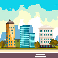 Buildings city, flat cartoon style modern skyscrapers
