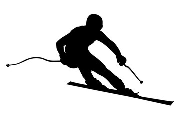 athlete skier super slalom skiing black silhouette