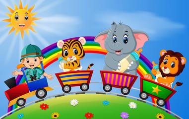adventurer and animals on the train with rainbow  illustration