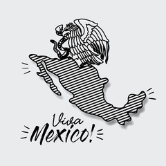 viva mexico poster with map striped and emblem of eagle with snake in black silhouette