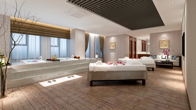 3d render of massage and spa room