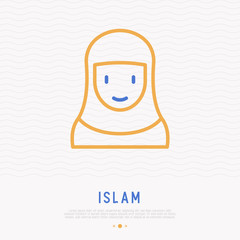 Muslim woman in hijab thin line icon. Modern vector illustration.