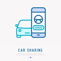 Car sharing concept: searching a car through mobile app thin line icon. Vector illustration.