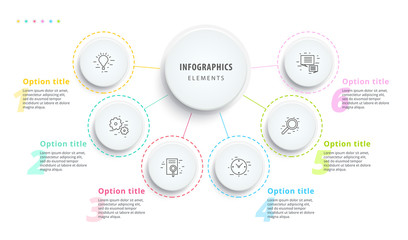 Business process chart infographics with 6 step segments. Circular corporate timeline infograph elements. Company presentation slide template. Modern vector info graphic layout design.