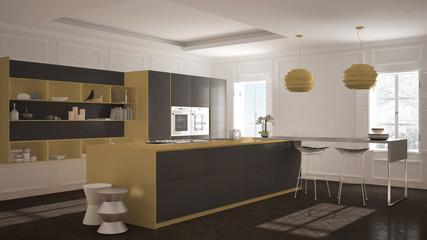 Modern kitchen furniture in classic room, old parquet, minimalist architecture, gray and orange interior design