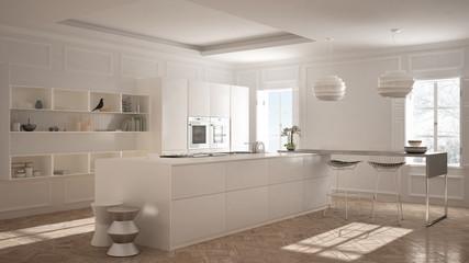 Modern kitchen furniture in classic room, old parquet, minimalist architecture, white interior design