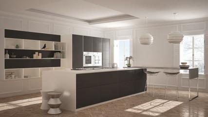 Modern kitchen furniture in classic room, old parquet, minimalist architecture, white and gray interior design