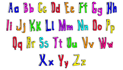 Colorful lettering alphabet illustration fun drawing