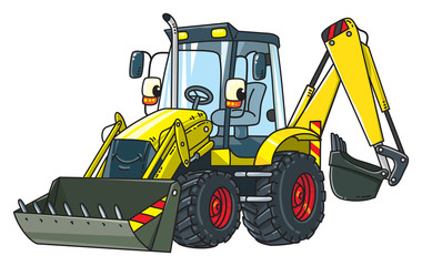 Funny constuction tractor with eyes