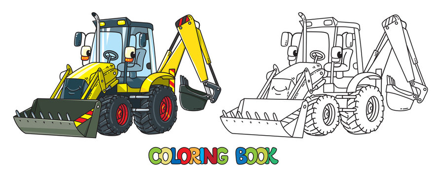 Funny constuction tractor with eyes. Coloring book