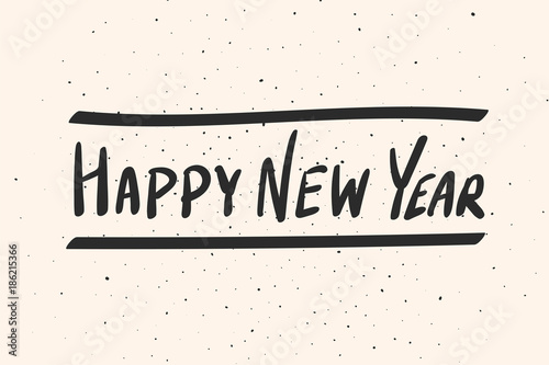 happy new year calligraphy phrase vector hand drawn illustration new year card modern