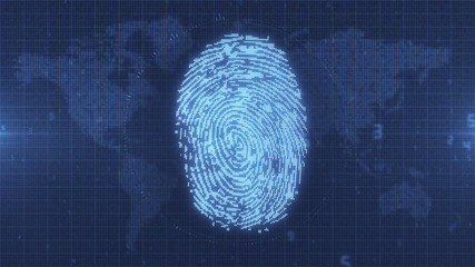 Blue fingerprint digital access concept