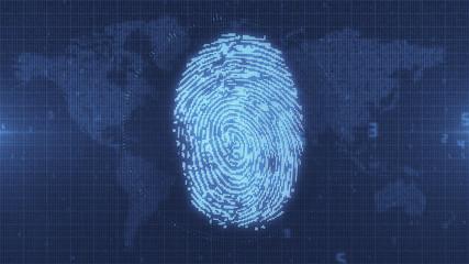 Blue fingerprint digital access concept