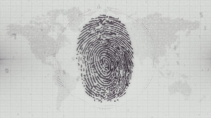 Digital fingerprint concept on map of the world background