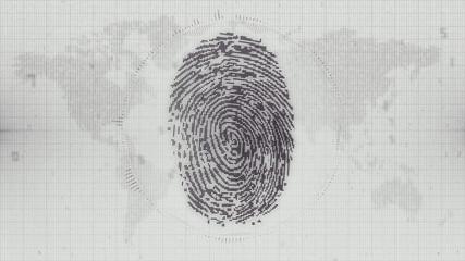 Digital fingerprint concept on map of the world background