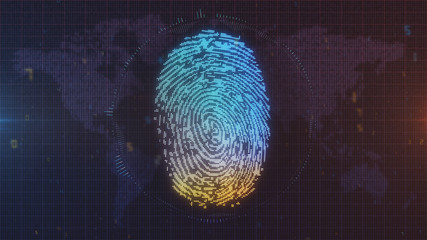 Digital fingerprint concept in blue and orange