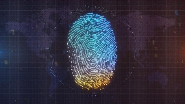 Digital fingerprint concept in blue and orange