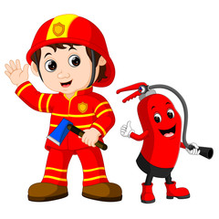 Rescue firefighter man holds iron axe and fire extinguisher cartoon