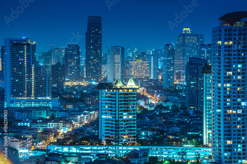 Bangkok River Side Cityscape Bangkok Night View In The
